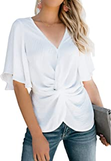 Womens Fashion Floral Blouses Short Sleeve V Neck Twist Ruched Tops and T Shirts S-XXL