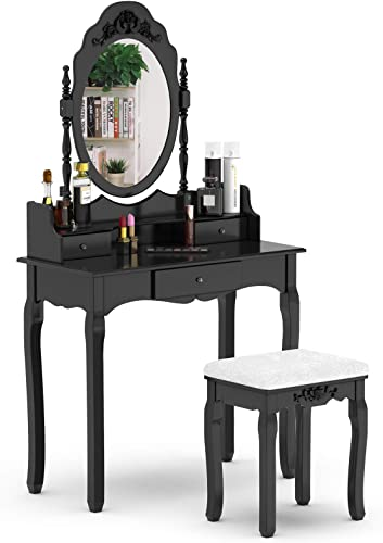 discount Giantex Vanity Table Set with Mirror online sale and Stool for Bedroom Modern Wood 2021 Style Cushioned Bench Oval Mirrored Multifunctional Top Removable Writing Desk Dressing Tables for Girls, 3 Drawers (Black) online sale