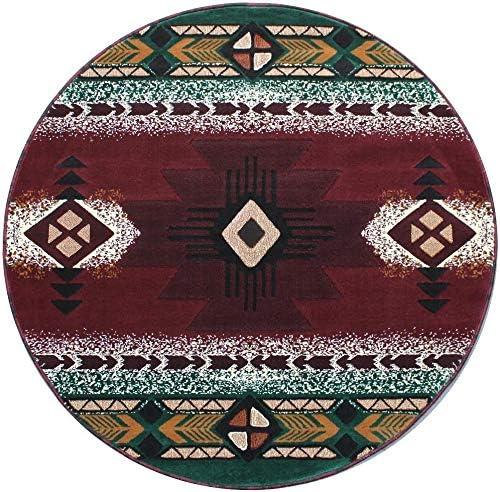 Navajo Aztec Native American Tribal Green Rug Burgundy 販売期間 限定のお得なタイムセール Area 7' 超激安