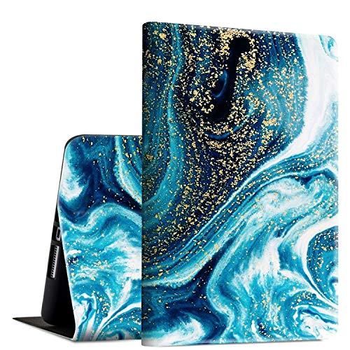 Rossy - Funda para Galaxy Tab A 10.1 (2016,SM-T580/T585/587, funda de piel sintética de poliuretano termoplástico, con soporte ajustable y apagado automático, para Samsung Galaxy Tab A 10,1 pulgadas, color azul y dorado