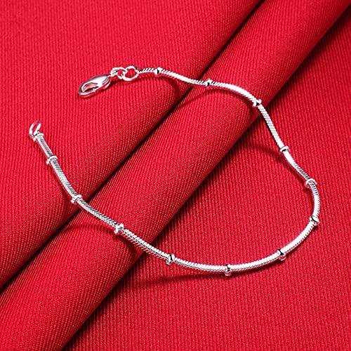 CXWK Noble Lindo Encanto Cadena de Serpiente Pulseras de Color Plateado para Mujeres Hombres joyería de Moda de Boda
