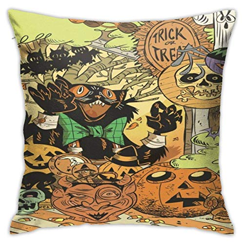 ingshihuainingxiancijies Halloween Happy Pumpkin Skullpolyester Pillowcase Romantic Living Room Family Bedroom Pillowcase 18 X 18 Inches