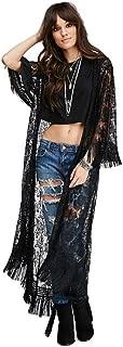 Stevie Nicks Bohemian style kimono black lace and fringe