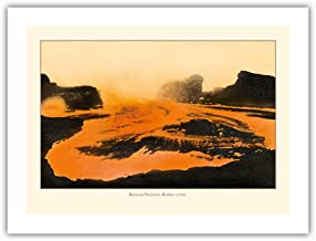 Pacifica Island Art - Kilauea Volcano - Big Island, Hawaii - Pele, Fire Goddess - Lava Flow - Vintage Hawaiian Cultural Images c.1920s - Premium 290gsm Giclée Art Print 18in x 24in