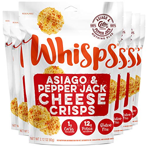 Whisps Asiago & Pepper Jack Cheese Crisps | Keto Snack, Gluten Free, Sugar Free, Low Carb, High Protein | 2.12oz (6 Pack)
