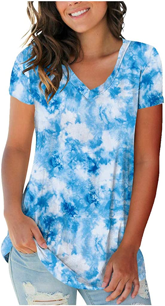 FEITONG Womens Fashion Plus Size Our shop OFFers the best service Blouse Ranking TOP3 Short V-Neck Tie-Dye Sle