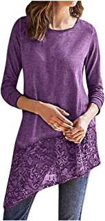 Womens Long Sleeve Irregular Hem Lace Blouses Casual Solid Color T-Shirt Tops