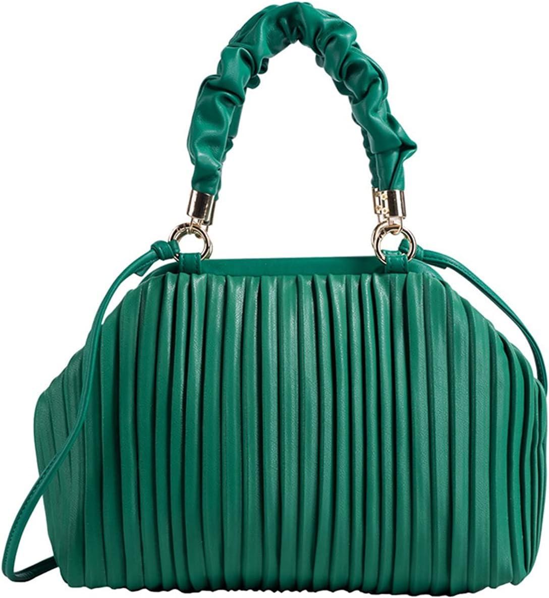 GOUHOME Women's Evening Handbags Shoulder Bag Ruched Dumpling Crossbody Bags Large Capacity Cloud Clutch Purses (Color : Green, Size : 32x22x9cm)