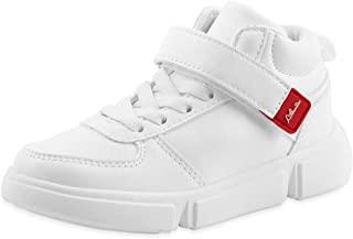 White and Black School Uniform Shoes for Boys and Girls Low and Hi Top Breathable Lightweight Athletic Shoes for Little Kid (4-8yrs)