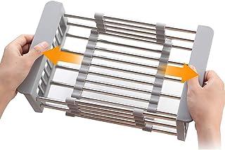 WASJOYE 水切りかご 伸縮 30-44CM シンク内 ステンレス 耐荷重90KG 錆びない キッチン 収納 食器乾燥 省スペース 一人暮らし 水切りラック グレー