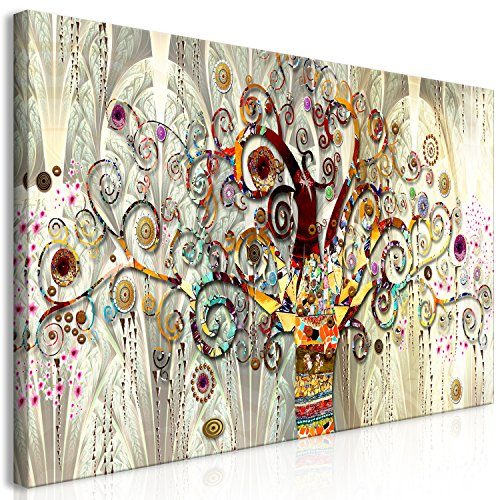 murando HandArt Bilder auf Leinwand Gustav Klimt Baum des Lebens 120x60 cm 1 TLG Leinwandbild Wandbilder Wohnzimmer Wanddekoration Moderne Kunst - Baum Steine Kunst l-A-0033-b-a