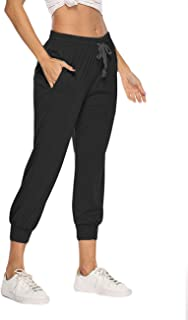 RIOJOY Cropped Tracksuit Bottoms for Women Casual Drawstring Waist 3/4 Capri Joggers Sweatpants with Pockets