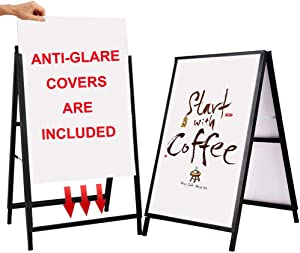 YDisplay Heavy Duty A Frame Folding Sidewalk Sign for Poster Board 24x 36 inches Double-Sided,Including 2 Anti-Glare Covers & Corrugated Boards for Indoor Outdoor,Black