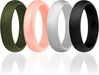ROQ Silicone Wedding Ring for Women, Affordable Silicone Rubber Wedding Bands, 7 Packs, 4 Pack & Singles - Glitters & Meta...