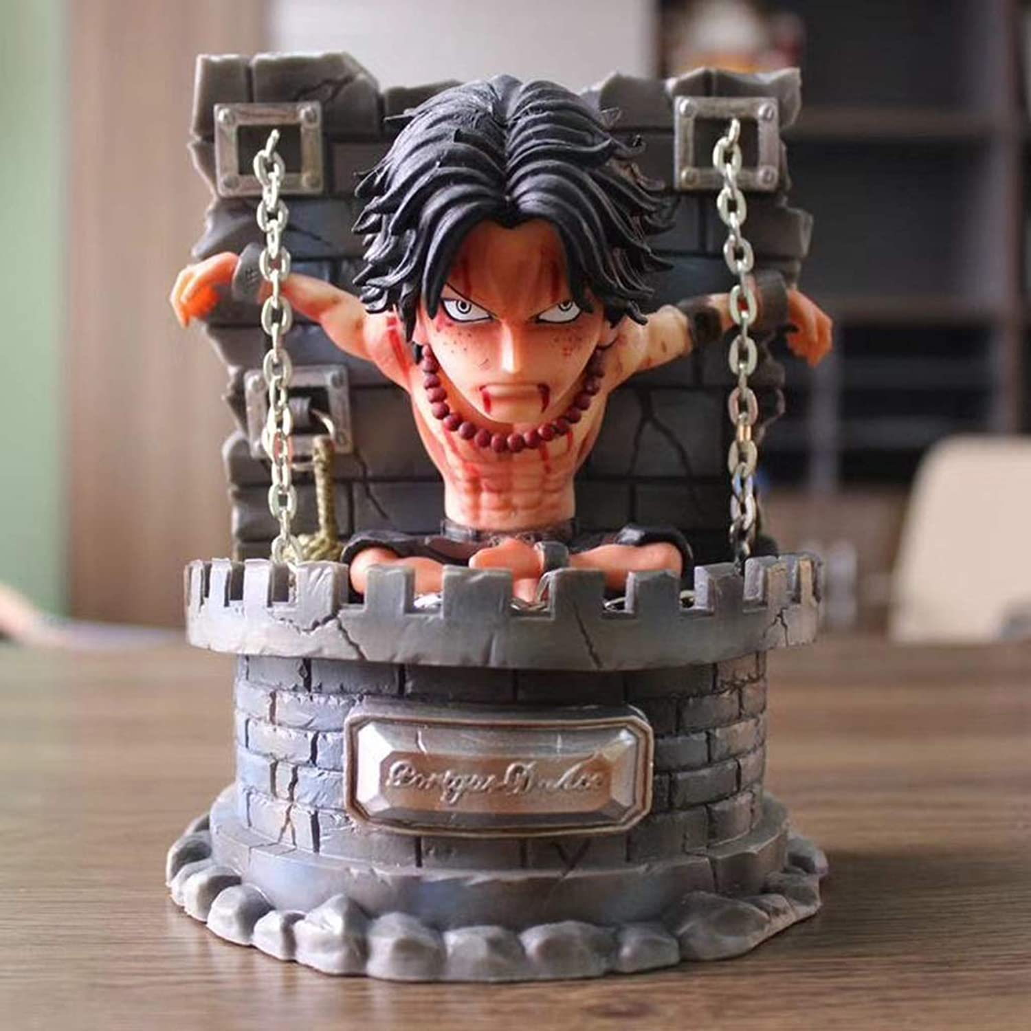 QCRLB One Piece Anime Statue Gefangener Portgas · D · Ace Spielzeug Modell PVC Anime Dekoration Statische Statue Crafts Collection -6.2in Spielzeugmodell