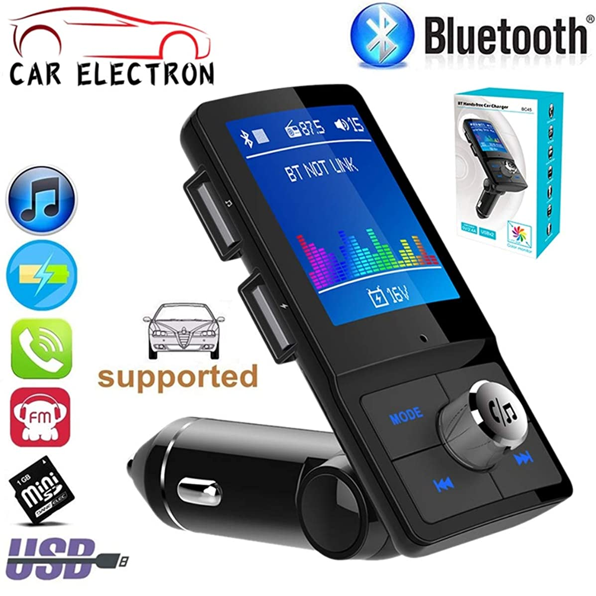 Color Screen FM Transmitter Wireless Car MP3 Audio Hands-Free Bluetooth Car Kit Dual USB Charger Adapter HD Microphone