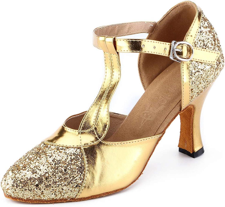 Honeystore Women's Glitter Sequin Mary Jane Latin Ballroom Dance shoes 1920s Prom Salsa Performance