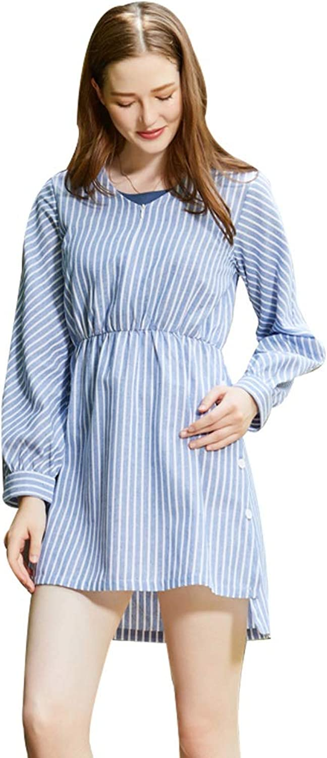 Casual Breastfeeding Dress Cotton and Linen Skirt Long Sleeves Dress Pregnant Women Home Clothes Wear to Work (color   bluee, Size   S)