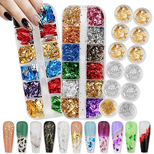 Warmfits Foil Flakes for Nail Art Holographic Nail Glitter