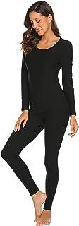 طقم ملابس داخلية حرارية من Langle للنساء برقبة دائرية وتصميم ضيق طويل من الأعلى والأسفل S-XXL