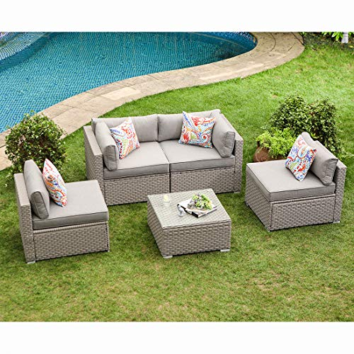 COSIEST 5-Piece Outdoor Furniture Set Warm Gray Wicker Sectional Sofa w Thick Cushions, Glass Coffee Table, 4 Floral Fantasy Pillows for Garden, Pool, Backyard ¡