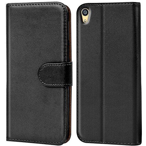 Verco Handyhülle für Sony Z2 Hülle, Schutzhülle für Sony Xperia Z2 Tasche PU Leder Flip Hülle Brieftasche - Schwarz
