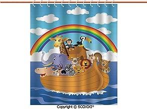 SCOXIXI Shower Curtain,Durable,Cartoon Style Group of Animals in Noahs Ark Childish Cheering Design Artwork,W60XL72 Inches
