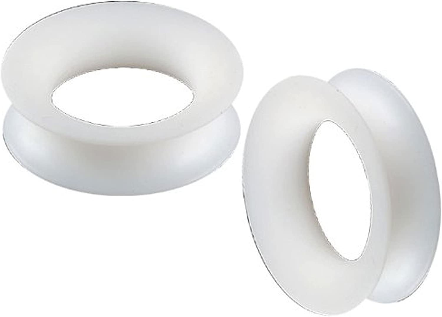 36mm White Silicone Double Flare Flesh Tunnels Ear Large Gauge Plugs ABYK Ear Stretching Stretchers Piercing SI04 2Pcs