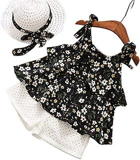 TUEMOS Conjunto de 3 Piezas de Ropa para niña con diseño Floral + pantalón Corto con Sombrero para el Sol, A-Negro, 5T / 6T