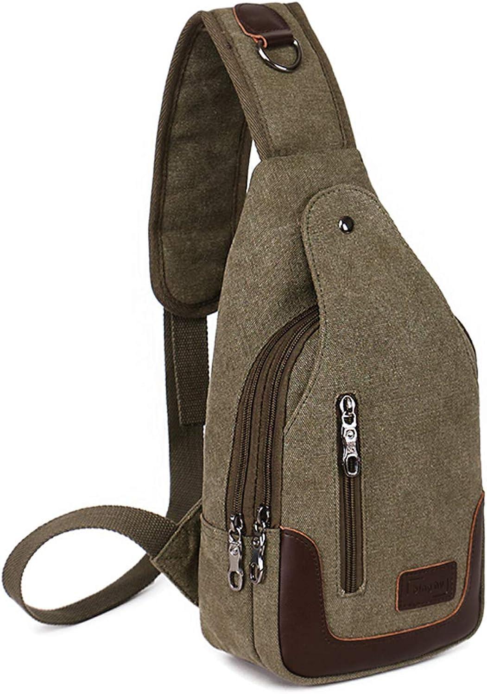 Multipurpose Daypacks Canvas Chest Pack Crossbody Casual Sling Bag Shoulder Bag Army Green