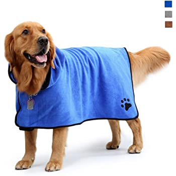 Pet Drying Moisture Absorbing Bath Robe Adjustable Microfibre Dog/&Cat Bathrobe Fast Dry Dressing Gown Quick Drying Pajamas Toweling Super Absorbent Pet Robe Coat XL-Purple Dog Bathrobe Towel