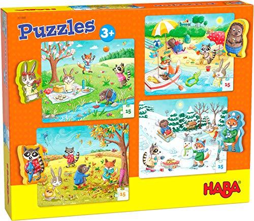 HABA-301888 Puzzles Las Cuatro Estaciones Puzle Infantil, Mu