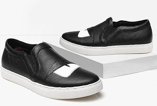 YTTY La Tête De Couche De Cuir Une Pédale Paresseux De Chaussures,Noir,36
