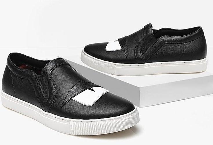 YTTY La Tête De Couche De Cuir Une Pédale Paresseux De Chaussures,Noir,38