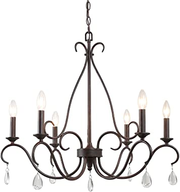 "LALUZ Dining Room Chandelier Farmhouse Lighting Fixture Hanging with Crystal Pendants, 28"" L x 25.5"" H, Bronze"