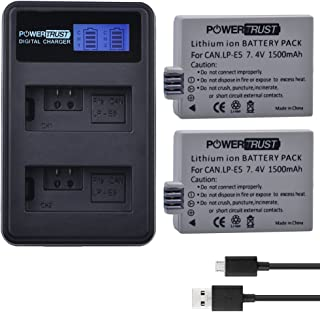 PowerTrust 2 Pack 1500mAh LP-E5 Camera Battery + LCD Dual USB Charger for Canon EOS Rebel XS, 450D, 500D,1000D, Kiss X2, Kiss X3, Kiss F, Rebel XSi, Rebel XLI Camera