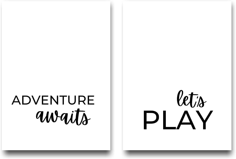 Adventure Awaits Let's Play, Playroom Wall Art, Nursery Decor, Playroom Wall Decor, Classroom Decor, Play Sign for Playroom Wall, Nursery, 12x16 Inch Unframed Prints, Black and White Classroom Decor, Playroom Decor. (White)