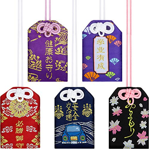 Maitys 5 Pieces Japanese Omamori Sachet Lucky Amulet Charms for Health/Education/Love/Success/Traffic Safety, 5 Styles