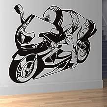 Art Deco Vinyl Wall Decal Racing Motorcycle Children's Bedroom Wall Decoration Sticker Hollow House Door Poster 58 x 65 cm