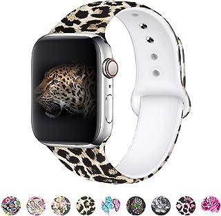 MITERV - Correa de repuesto para Apple Watch Series 1, 2, 3, 4,5 (1.496in, 1.575in, 1.654in, 1.732in, silicona suave), 1-leopardo