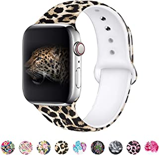 MITERV Compatible with Apple Watch Band 42mm 44mm Soft Silicone Fadeless Pattern Printed Replacement Bands for iWatch Series 1,2,3,4,5 Leopard S/M