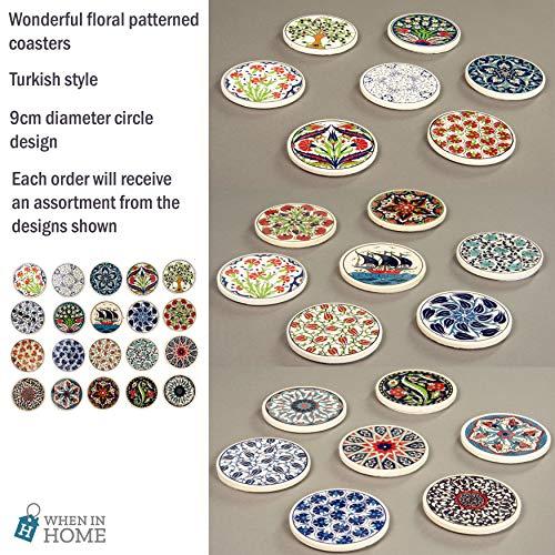 When in Home Untersetzer, Blumenmuster, 9 cm, rund, türkisches Ottomanen-Mosaik-Design, 4 Stück