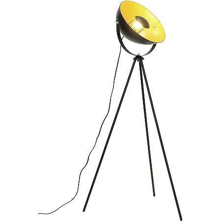 Lampadaire trépied vintage - style projecteur de cinéma,Noir doré abat-jour et Ø 34 cm,Max. 60W, 146 cm Lampe sur pied métal pour salon,chambre à coucher