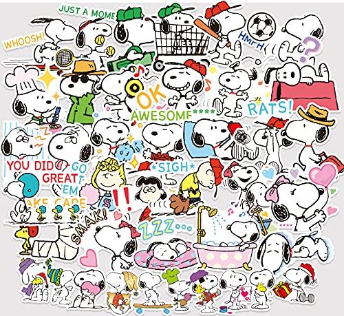 BUCUO Anime Cartoon Snoopy Small Sticker Personality Cute Suitcase Sticker Skateboard Guitar Locomotive Helmet Sticker 40Pcs