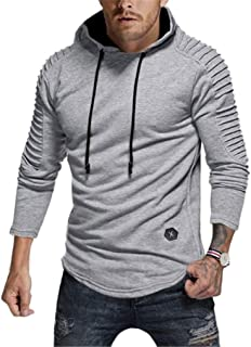 Seazoon Mens Long Sleeve Casual Plain Pullover Drawstring Hoodie Hem Curved Basic Breathable Sweatshirt