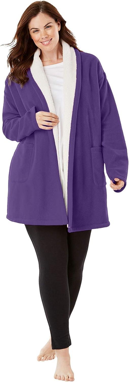 Dreams /& Co Womens Plus Size Sherpa-Lined Microfleece Bed Jacket Robe