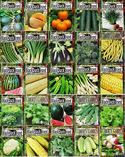 Set of 25 Premium Vegetable & Herb Seeds - 25 Deluxe Variety Premium Vegetable & Herb Garden 100%...