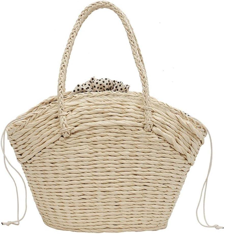 ZYYMMNN Summer Women Bag Straw Purse Wicker Beach Handbag Summer Bohemia Woven Clutch Basket Shopping Bags 22x24x12cm-1