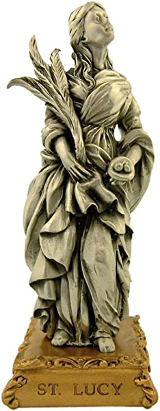 Pewter Saint St Lucy Figurine Statue On Gold Tone Base 4 1 2 Inch