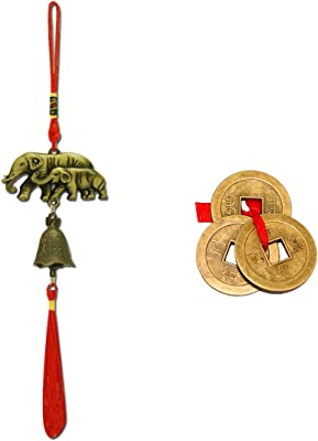 Divya Mantra Car Decoration Rear View Mirror Hanging Accessories Feng Shui Elephant Bell and Three Chinese Coins for Luck
